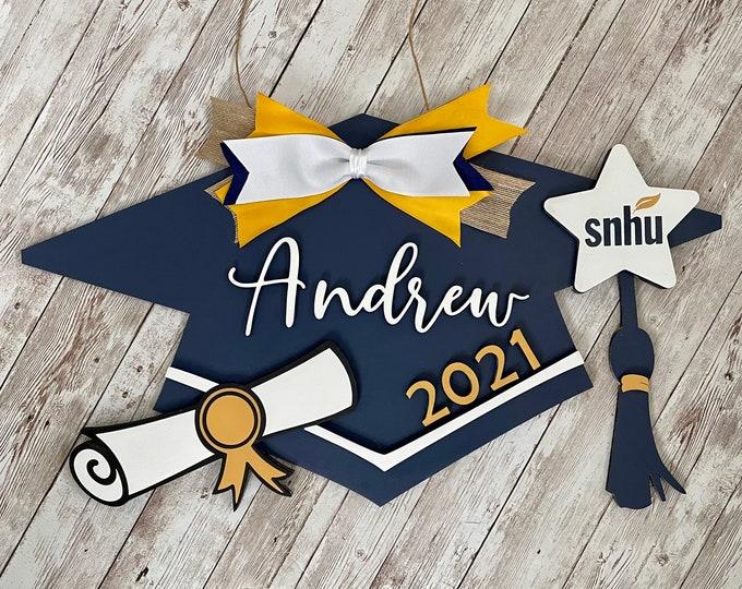 Class of 2021 Custom Grad Cap Door Hanger | Senior 2021 Grad Decor | High School Graduation Door Sign | Graduation Party Decor
