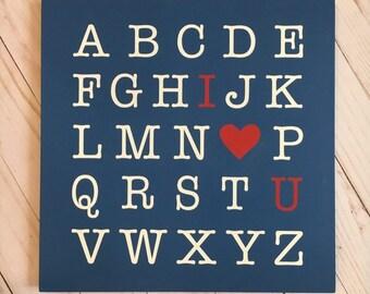 Alphabet Nursery Decor | ABC I Love U | Sign for nursery | I love you sign | 3 Sizes Available