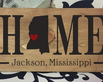 Mississippi Home State wood sign | 2 sizes available | Customized with Mississippi town name | Mississippi Decor