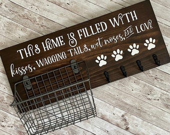 This home is filled with kisses, wagging tails, wet noses and love | Leash Hook and Basket Sign | New Dog Parent Gift | New Puppy Gift