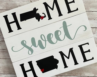 Massachusetts to Iowa State Sign | Two State Home Sign | New Home Gift idea | Housewarming Gift Idea | 2 State Sign | Moving away gift