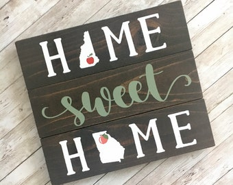 Home Sweet Home 2 State Wood Sign | Two State Home Sign | New Home Gift idea | Housewarming Gift Idea