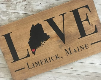LOVE wood state sign | 2 sizes available | Customized with couple name or town name + dates | wedding gift