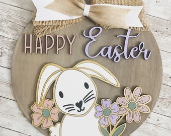 Easter Bunny Happy Easter Door Hanger | Easter Bunny Decor | Spring Sign | Pastel Decor | Cute Easter Decoration