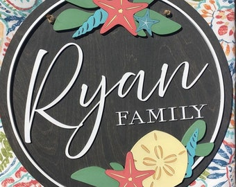 "Beach Themed Custom Round Wood  Sign  / Family Last Name Sign / 3D Wood Round Sign / 15, 18, 20 or 24"" Round"