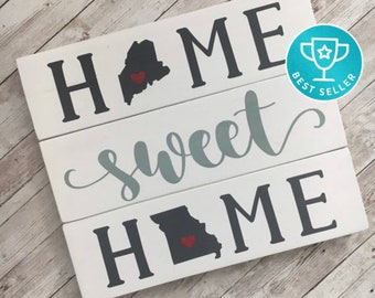 Home Sweet Home Double State Wood Sign | Two State Home Sign | New Home State Sign | Housewarming Gift | Farewell Gift | Going Away Gift