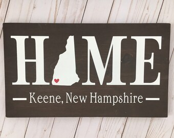 New Hampshire (NH) State HOME sign customized with town name - 2 sizes available