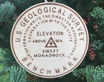 Mt. Monadnock Bench Mark Ornament | NH Hiker Ornament | Christmas 2020 | New Hampshire Mountains | Hiker Gift Idea