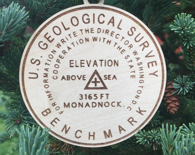 Mt. Monadnock Bench Mark Ornament | NH Hiker Ornament | Hiker Gift | Hiking Gift Ornament | Hiking Memory Ornament with Date