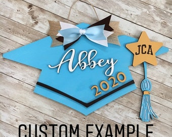 Class of 2021 Custom Grad Cap Door Hanger | Senior 2021 Grad Decor | High School Graduation Door Sign | Graduation Party Decor