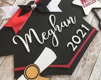 Custom Grad Cap Door Hanger   Senior 2021 Grad Decor   High School Graduation Door Sign   Graduation Party Decor