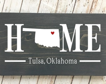 Oklahoma (OK) Home State wood sign | 2 sizes available | Customized with Oklahoma town name | Oklahoma Home Decor | New Oklahoma Home Gift