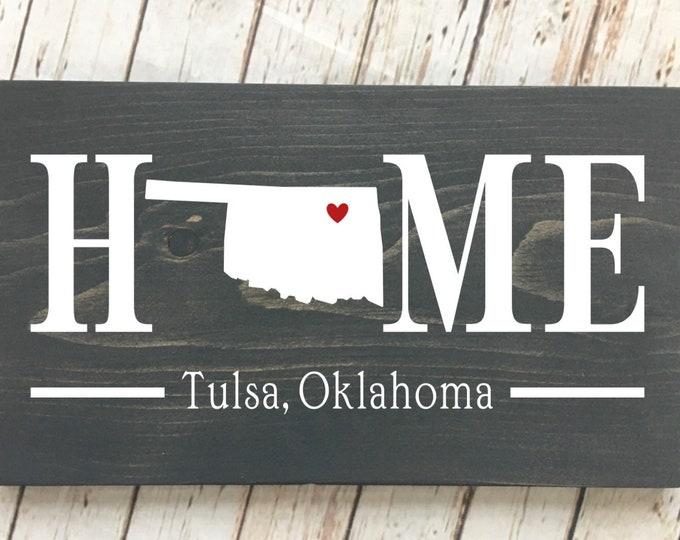 Oklahoma (OK) Home State wood sign | 2 sizes available | Customized with Oklahoma town name | Oklahoma Home Decor | New Oklahoma Home Gift