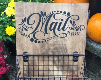Mail Basket wood sign with attached basket included   Kitchen Mail Organizer   Mail Clutter Basket   Available in multiple stain choices