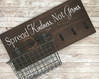 Spread Kindness, Not Germs Mask Hook and Basket Wall Sign | Mask Hook and Basket Sign | Entry way Organization | Mask Storage