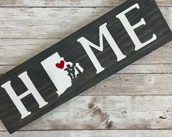 """Rhode Island Home State Wood Sign 