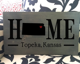 Kansas (KS) State HOME sign - 2 sizes available - Customized with town name