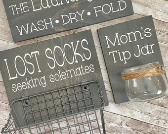 Laundry Room Sign Trio | Lost Socks Basket + Mom's Tip Jar + The Laundry Room Sign | International Shipping Available | Color Pop Series