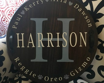 """18"""" Custom Designed Family Wood Round Serving Tray or Sign 