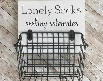 Lonely Socks - Seeking Solemates | wood sign with attached basket | Laundry Room Decor | Laundry Organization