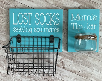 Laundry Room Sign Combo | Mom's Tip Jar AND Lost Socks - Seeking Solemates (or Soulmates) | Color Pop Series