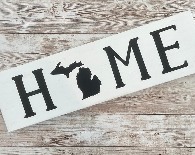 """Michigan Home State Wood Sign 