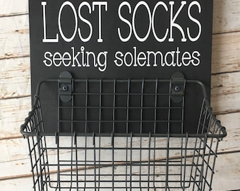 Lost Socks Seeking Solemates Basket | Color Pop Series | Laundry Room Decor & Organization | Multi Color Options