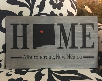 New Mexico Home State wood sign | 2 sizes available | Customized with New Mexico town name | New Mexico Decor