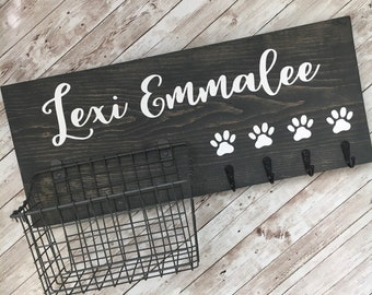 Dog Leash Hook and Basket Sign Combo | Custom Dog Name sign with basket and leash hooks | Front Door Pet Organizer | Pet Parent Gift