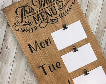 This Week's Menu Sign | Farmhouse Kitchen Decor | Dinner Menu Sign | Family Dinner Organizer
