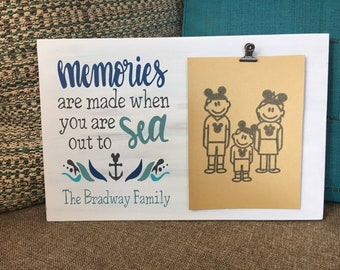 "Painted wood sign with photo clip | Family Cabin Fish Extender Gift Idea | 9"" x 14"" with 5"" x 7"" Photo space with clip 