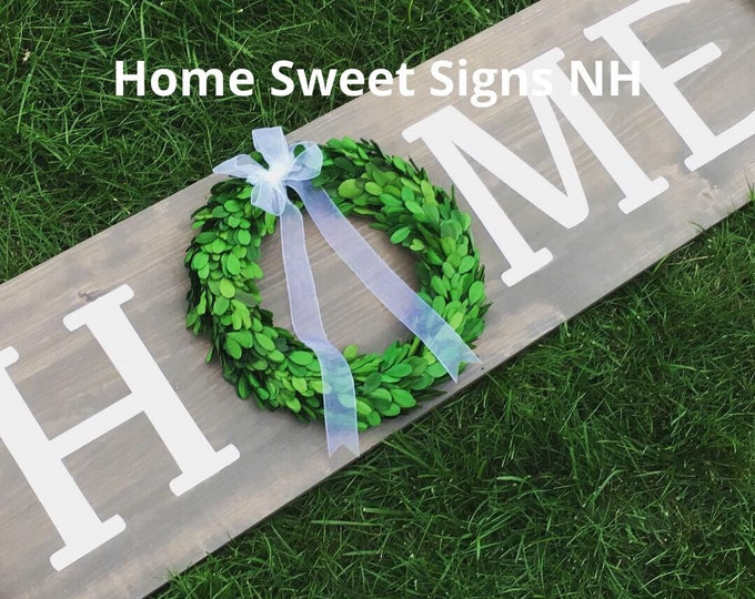 4' Vertical or Horizontal Home Wall Sign with Preserved Boxwood Wreath - Multicolors & Last name Personalization available