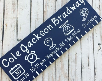 """Baby Birth Stats """"Ruler"""" Length Sign   Custom Baby Name Sign   New Baby Gift   Height Weight Length"""
