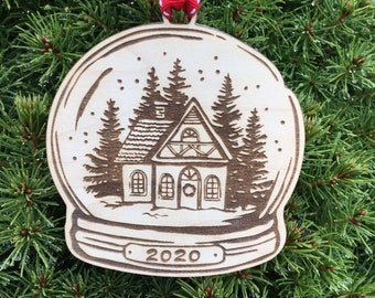 2020 - The Year We Stayed Home Snow globe Christmas Tree Ornament | New Home Ornament |