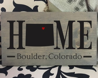 Colorado (CO) Home State wood sign | 2 sizes available | Customized with Colorado town name | Colorado Decor