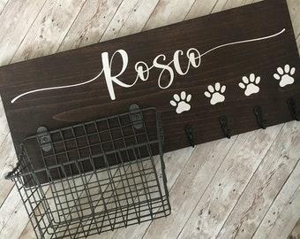 Dog Leash Hook and Basket Sign Combo | Custom Dog Name sign with basket and leash hooks | Front Door Pet Organizer | Dog Mom or Dad Gift