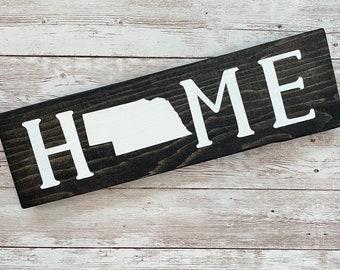 "Nebraska Home Wood Sign | Housewarming Gift | Gallery Wall Sign | 3 sizes 3.5"" x 12"", 5.5 x 18"" & 9 x 32"" Sign | Realtor Gift Ideas"