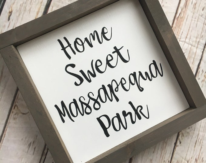 """Personalized Home Sweet Home Town Name Framed Sign - 3 sizes 8"""", 10"""" and 12"""" 