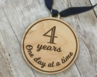 Year Milestone Ornament | One Day at a Time Ornament Year Marker | Clean and Sober Gift Idea | Sobriety Support Gift