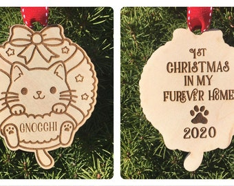 Cat First Furever Home Christmas Ornament | First Christmas with Furever Family | New Kitten Gift Idea | 2021 Cat Ornament