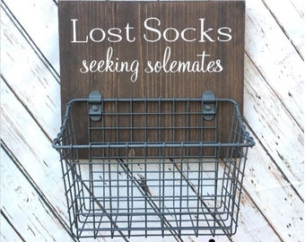 Laundry Room Sock Basket | Lost Socks Seeking Solemates Basket | Classic Edition | Laundry Organization | Etsy Best Seller Badge Earned