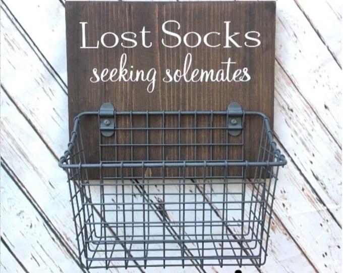 Laundry Room Sock Basket | Lost Socks Seeking Solemates Basket | Classic Edition | Laundry Organization | Etsy Best Seller Badge Earned