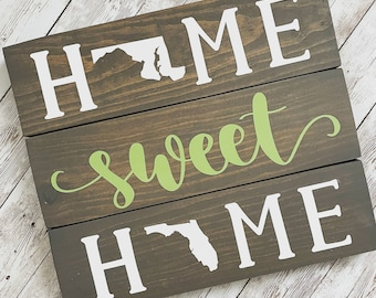 Maryland to Florida Home Sweet Home 2 State Wood Sign | Two State Home Sign | New Home Gift idea | Housewarming Gift Idea