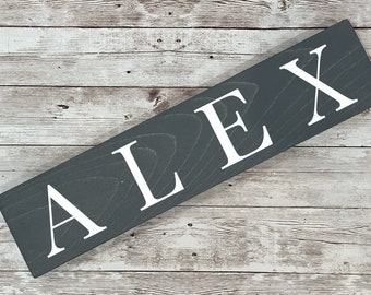 """4.5"""" High Last Name or Town Name Horizontal Wood Sign 