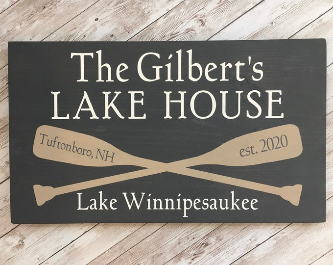 Custom Lake House wood sign | 2 sizes available |Customized with Names, Lake and town name | Lake House Home Decor