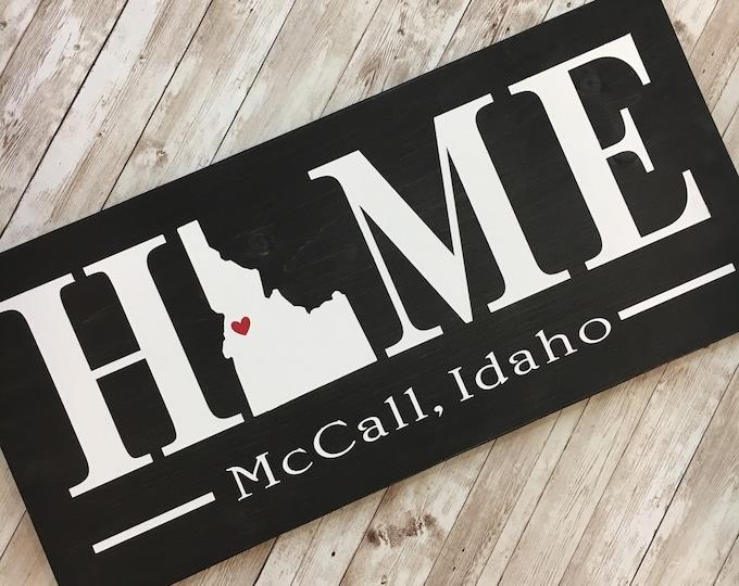Idaho (ID) Home State wood sign | 2 sizes available |Customized with Idaho town name | IdahoHome Decor