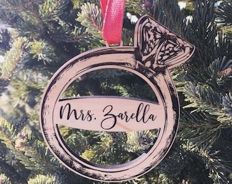 Personalized Mrs. Ornament   Custom Wedding Gift Tag   2020 Wedding Ornament   Last Name Ornament