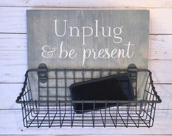 Unplug & Be Present phone basket | No Phone Rule wood sign with attached basket | Dining Room - Kitchen Humor