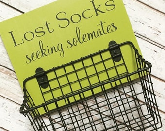 New! Lost Socks Seeking Solemates Basket - Color Pop Series | Laundry Room Decor | Etsy 2020 Color of the Year - Chartreuse