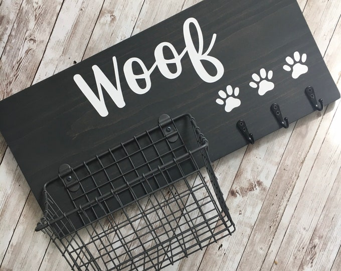 Woof Dog Leash Hook and Basket Sign Combo | Dog Organizer with attached basket and leash hooks | Pet Organizer